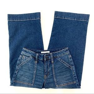 Melrose And Market Cropped Wide Leg Jeans Blue 26